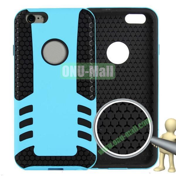 Rock Series Snap-on 2 in 1 Pattern Backup Silicone + PC Hybrid Case for iPhone 6 Plus 5.5 inch (Blue)