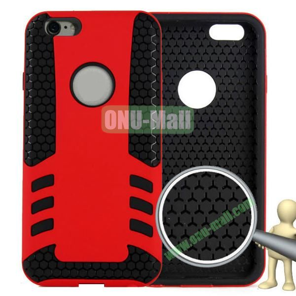 Rock Series Snap-on 2 in 1 Pattern Backup Silicone + PC Hybrid Case for iPhone 6 Plus 5.5 inch (Red)