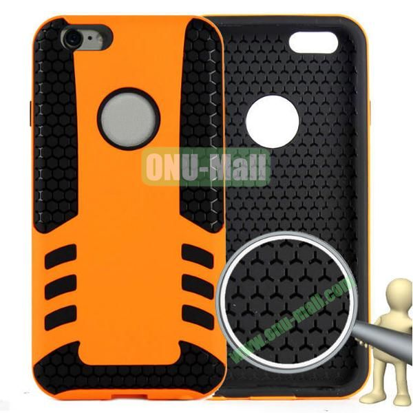 Rock Series Snap-on 2 in 1 Pattern Backup Silicone + PC Hybrid Case for iPhone 6 Plus 5.5 inch (Orange)