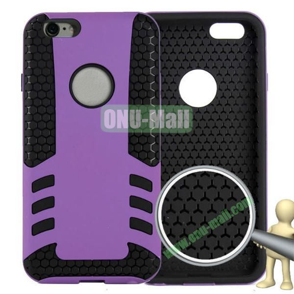 Rock Series Snap-on 2 in 1 Pattern Backup Silicone + PC Hybrid Case for iPhone 6 Plus 5.5 inch (Purple)