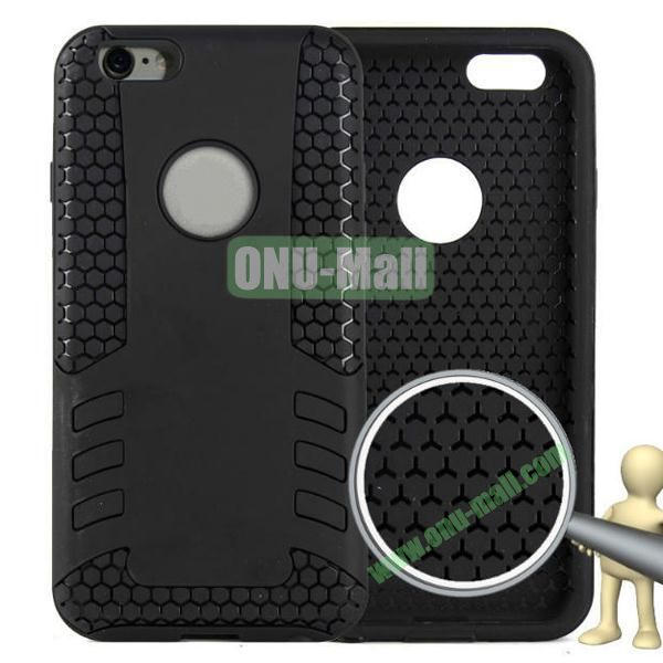 Rock Series Snap-on 2 in 1 Pattern Backup Silicone + PC Hybrid Case for iPhone 6 Plus 5.5 inch (Black)