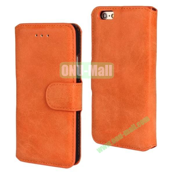 Frosted Wallet Style Flip Leather Case for iPhone 6 4.7 inch (Orange)