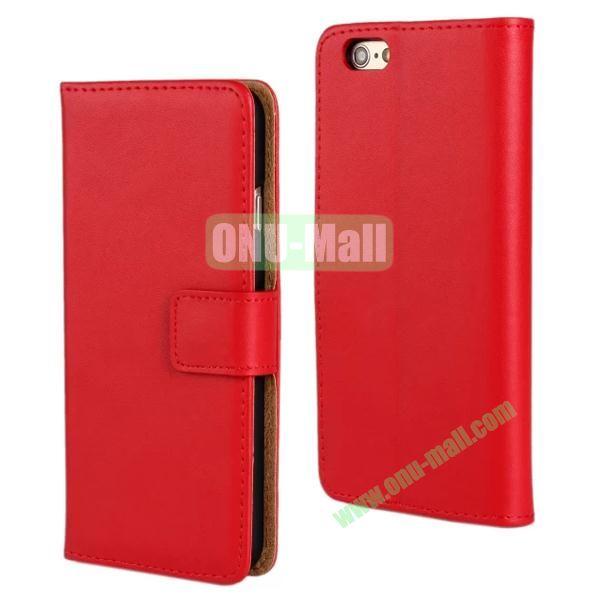 Plain Texture Flip Stand Leather Case for iPhone 6 Plus 5.5 inch (Red)