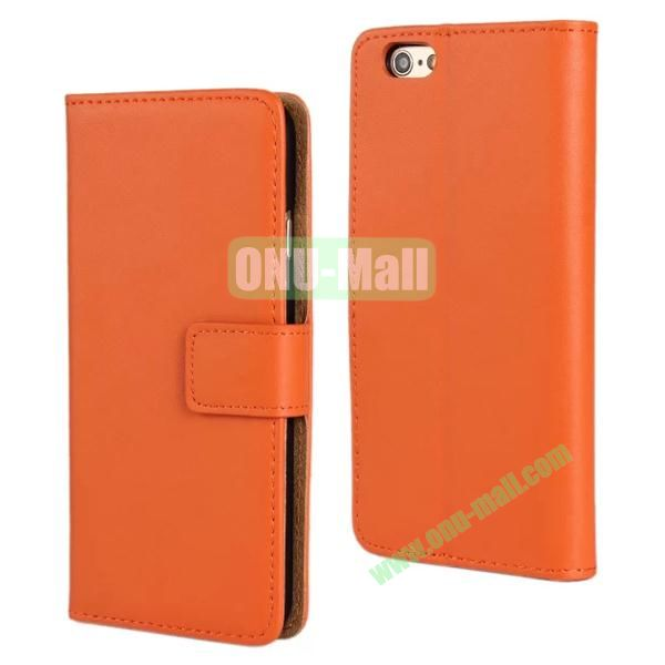 Plain Texture Flip Stand Leather Case for iPhone 6 Plus 5.5 inch (Orange)