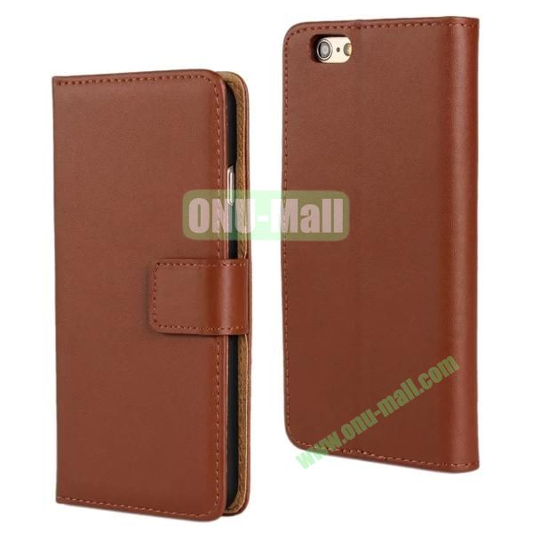 Plain Texture Flip Stand Leather Case for iPhone 6 Plus 5.5 inch (Brown)