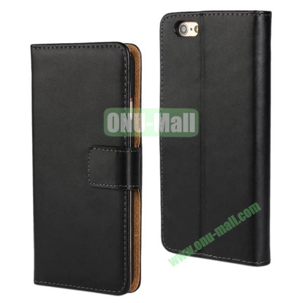 Plain Texture Flip Stand Leather Case for iPhone 6 Plus 5.5 inch (Black)