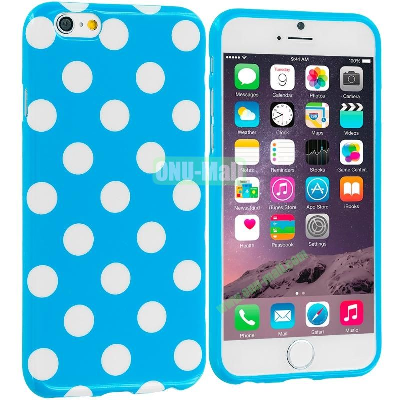 TPU Polka Dot Skin Case Cover for Apple iPhone 6 4.7 inch (White and Blue)