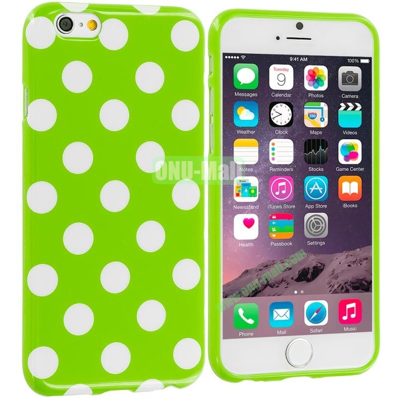 TPU Polka Dot Skin Case Cover for Apple iPhone 6 4.7 inch (White and Green)