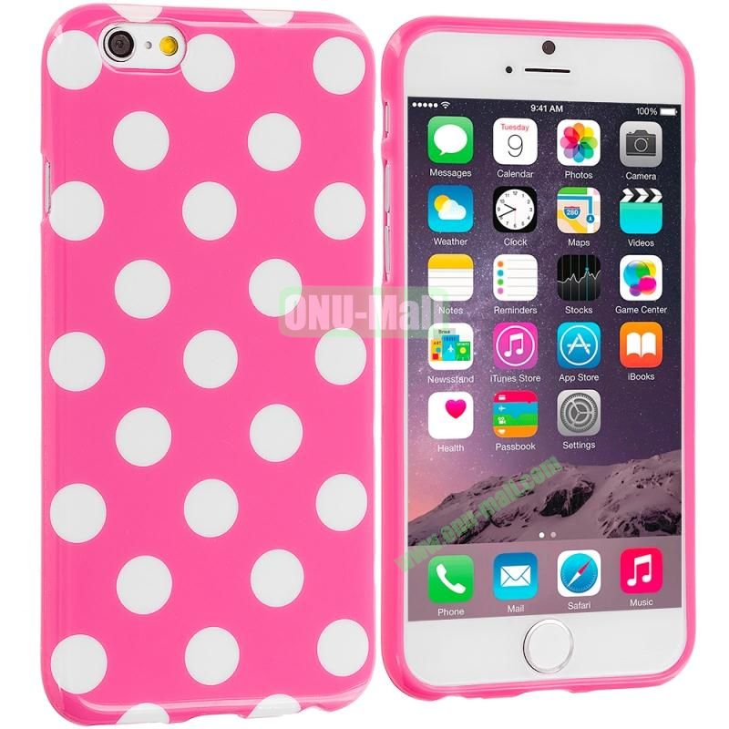 TPU Polka Dot Skin Case Cover for Apple iPhone 6 4.7 inch (White and Rose)