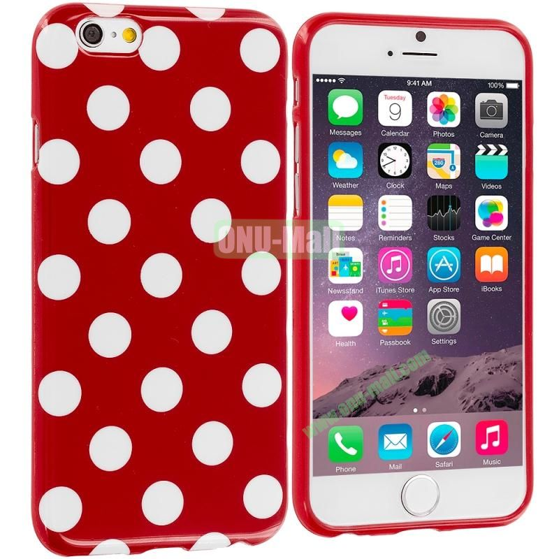 TPU Polka Dot Skin Case Cover for Apple iPhone 6 4.7 inch (White and Red)
