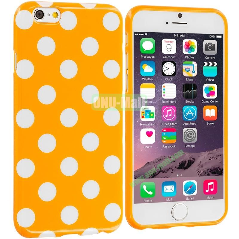 TPU Polka Dot Skin Case Cover for Apple iPhone 6 4.7 inch (White and Orange)