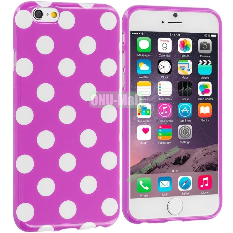 TPU Polka Dot Skin Case Cover for Apple iPhone 6 4.7 inch (White and Purple)