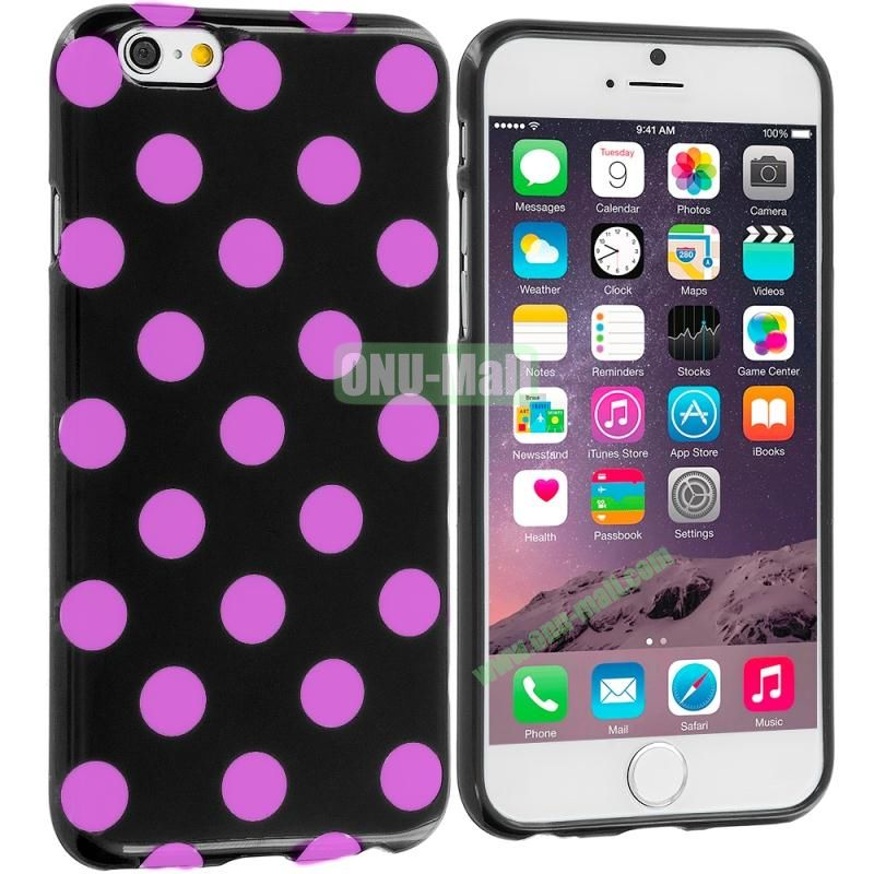 TPU Polka Dot Skin Case Cover for Apple iPhone 6 4.7 inch (Black and Rose)