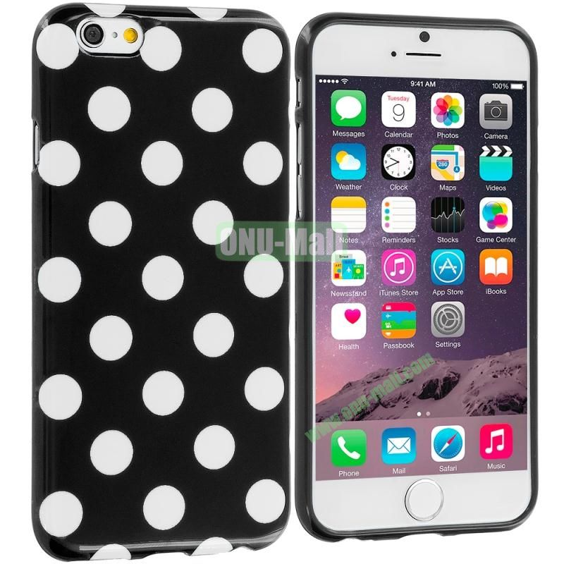 TPU Polka Dot Skin Case Cover for Apple iPhone 6 4.7 inch (White and Black)