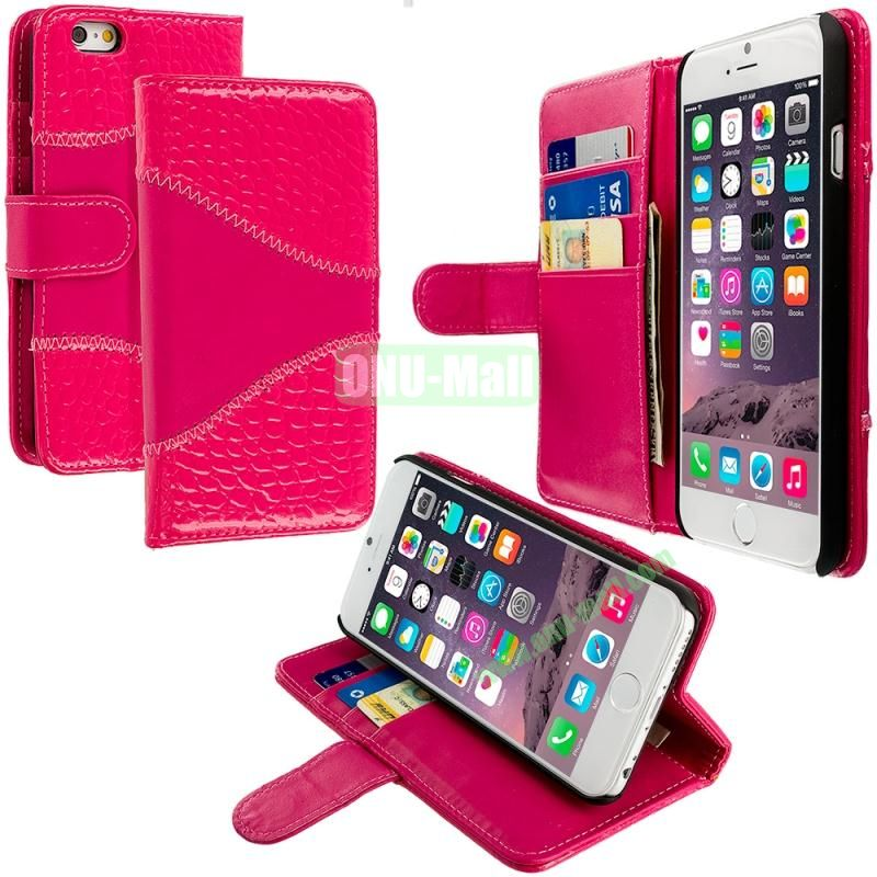 Crocodile Leather Wallet Pouch Case Cover with Slots for Apple iPhone 6 4.7 inch (Rose)
