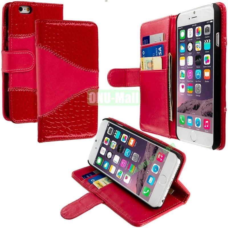 Crocodile Leather Wallet Pouch Case Cover with Slots for Apple iPhone 6 4.7 inch (Red)