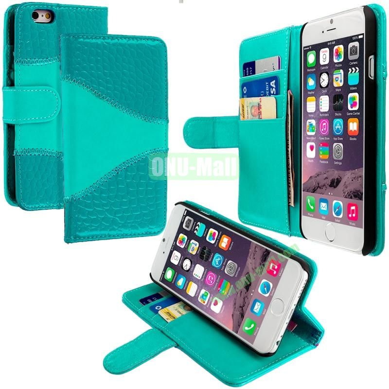Crocodile Leather Wallet Pouch Case Cover with Slots for Apple iPhone 6 4.7 inch (Green)
