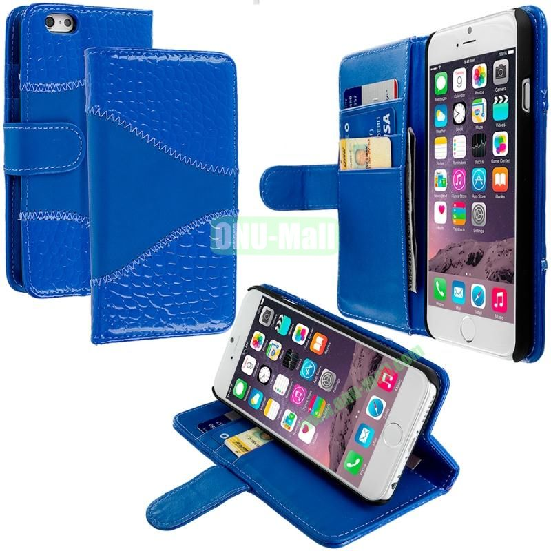 Crocodile Leather Wallet Pouch Case Cover with Slots for Apple iPhone 6 4.7 inch (Blue)