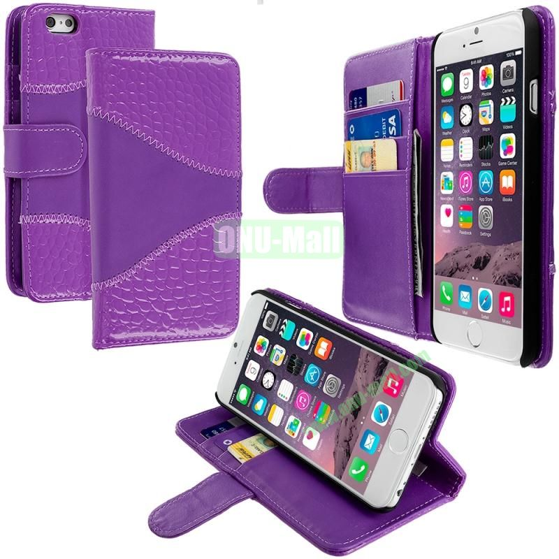 Crocodile Leather Wallet Pouch Case Cover with Slots for Apple iPhone 6 4.7 inch (Purple)