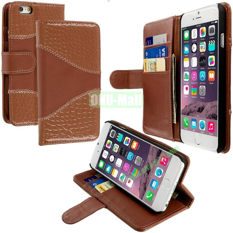 Crocodile Leather Wallet Pouch Case Cover with Slots for Apple iPhone 6 4.7 inch (Brown)