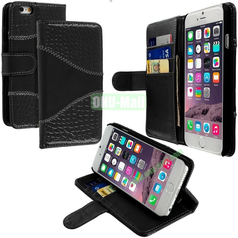 Crocodile Leather Wallet Pouch Case Cover with Slots for Apple iPhone 6 4.7 inch (Black)