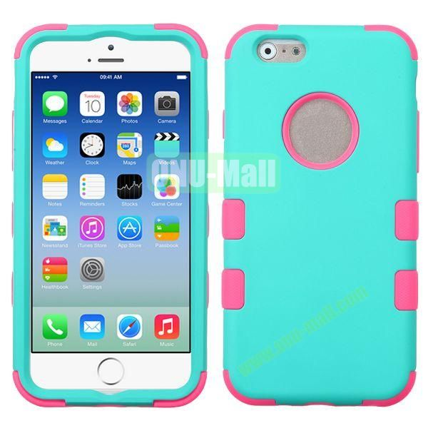 Rubberized Coating 3 in One Rugged Hybrid Phone Case for iPhone 6 Plus 5.5 inch (Rose and Mint)