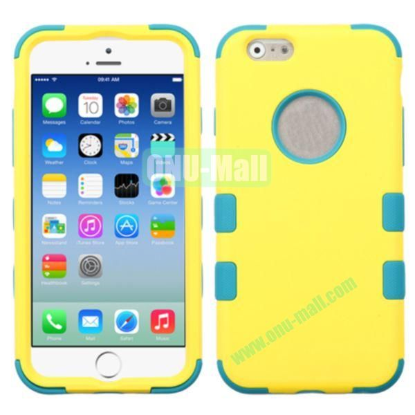 Rubberized Coating 3 in One Rugged Hybrid Phone Case for iPhone 6 Plus 5.5 inch (Yellow and Green)