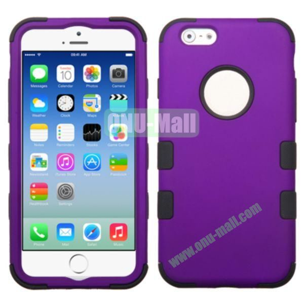 Rubberized Coating 3 in One Rugged Hybrid Phone Case for iPhone 6 Plus 5.5 inch (Purple and Black)