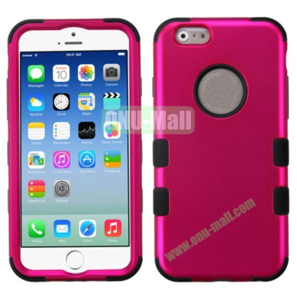 Rubberized Coating 3 in One Rugged Hybrid Phone Case for iPhone 6 Plus 5.5 inch (Rose and Black)