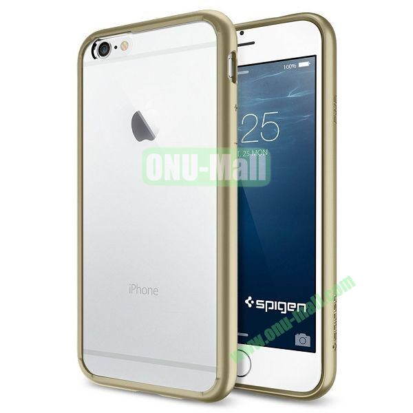 Ultra Hybrid Series Bumper Case with Clear Back Panel for iPhone 6 Plus 5.5 inch (Gold)