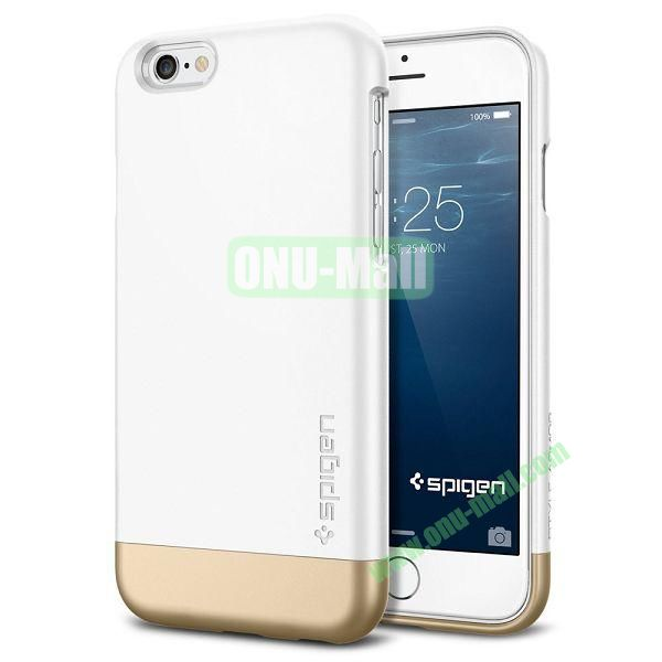 Armor Dual Layer Protection Slim Trendy Hard Case for iPhone 6 Plus 5.5 inch (White and Champagne Gold)