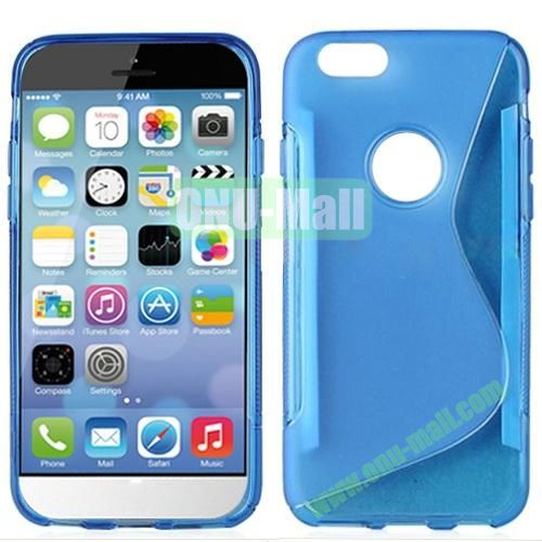 Hot Sale S-Shape TPU Case for iPhone 6 4.7 inch (Blue)