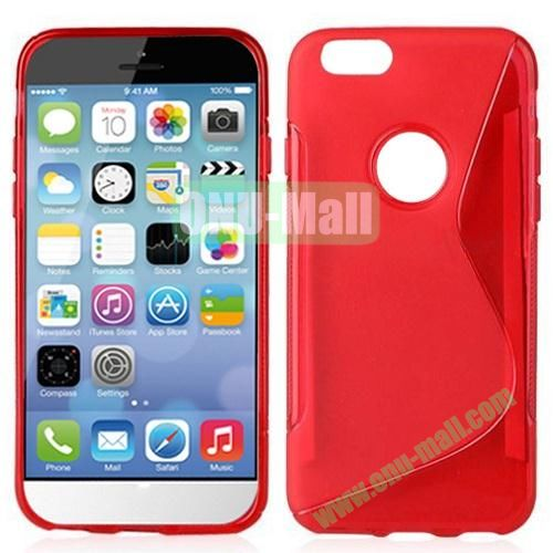 Hot Sale S-Shape TPU Case for iPhone 6 Plus 5.5 inch (Red)