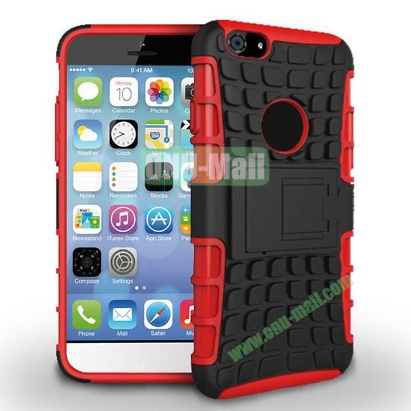 New Arrival Two-Color Detachable Hybrid TPU+ PC Hard Protective Case For iPhone 6 Plus 5.5 inch (Red+Black)