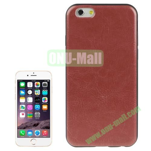 Crazy Horse Texture Leather Skinning Silicone Case for iPhone 6 4.7 inch (Brown)