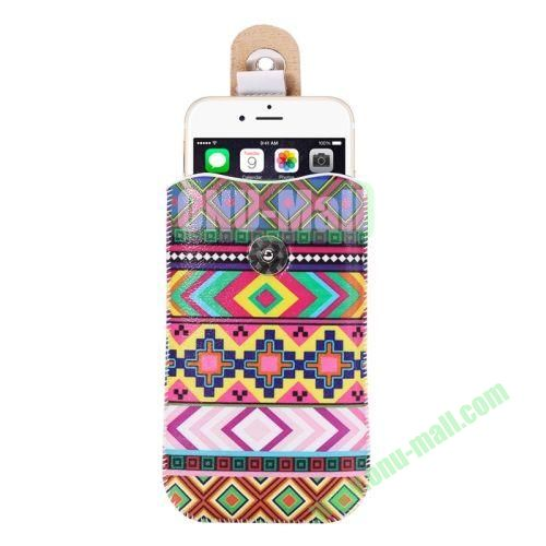 Colorful Design Magnet Buckle Leather Pouch for iPhone 6 Plus Samsung Galaxy Note 4 Note 3 N900A (Tribal Style)