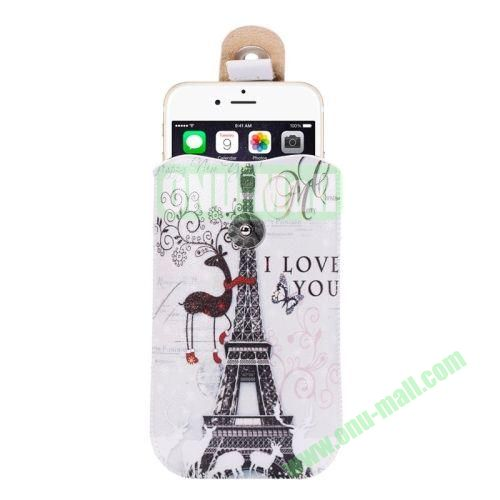Colorful Design Magnet Buckle Leather Pouch for iPhone 6 Plus Samsung Galaxy Note 4 Note 3 N900A (Tower and Deer)