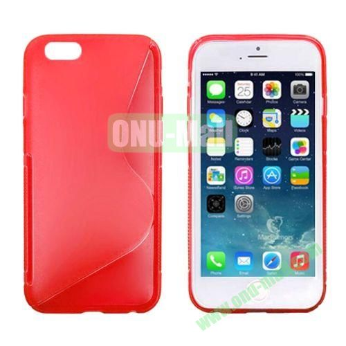 S Line Frosted Anti-skid TPU Protective Case for iPhone 6 4.7 inch (Red)
