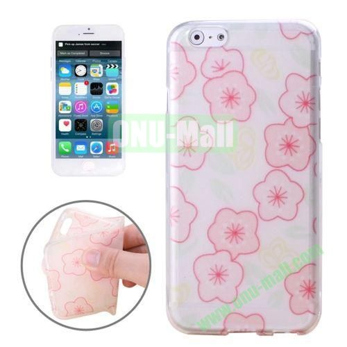 Newest Design Printed Images Transparent TPU Case for iPhone 6 (Cartoon Plum Blossom)