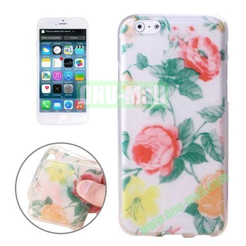 Newest Design Printed Images Transparent TPU Case for iPhone 6 Plus (Beautiful Flower)