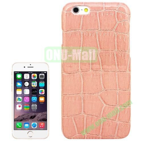 Crocodile Texture Leather Skin Plastic Case for iPhone 6 (Pink)