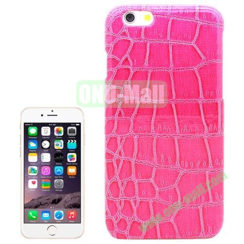 Crocodile Texture Leather Skin Plastic Case for iPhone 6 Plus (Rose)