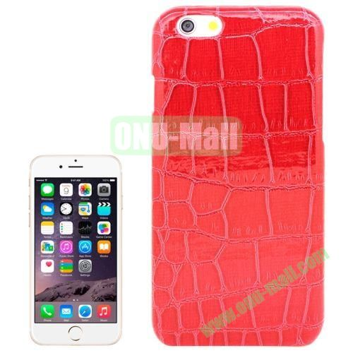 Crocodile Texture Leather Skin Plastic Case for iPhone 6 Plus (Red)