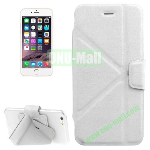 Multi-folding Crazy Horse Texture PU Leather Case for iPhone 6 with Holder (White)