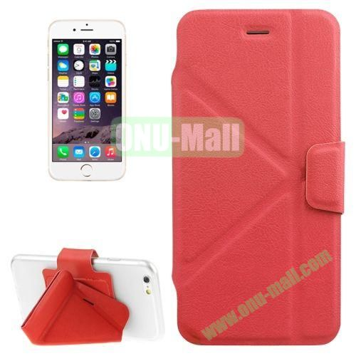 Multi-folding Crazy Horse Texture PU Leather Case for iPhone 6 Plus 5.5 Inch with Holder (Red)