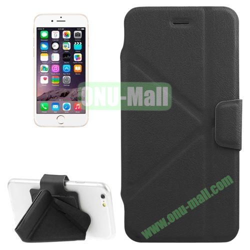 Multi-folding Crazy Horse Texture PU Leather Case for iPhone 6 Plus 5.5 Inch with Holder (Black)
