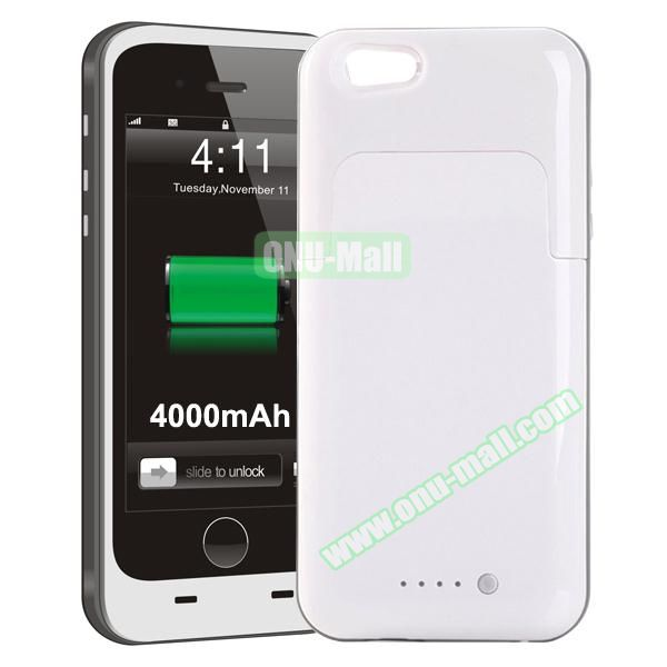 4000mAh Mophie Style External Power Bank Charger Pack Backup Battery Case for iPhone 6 Plus (Without Mophie logo) (White)