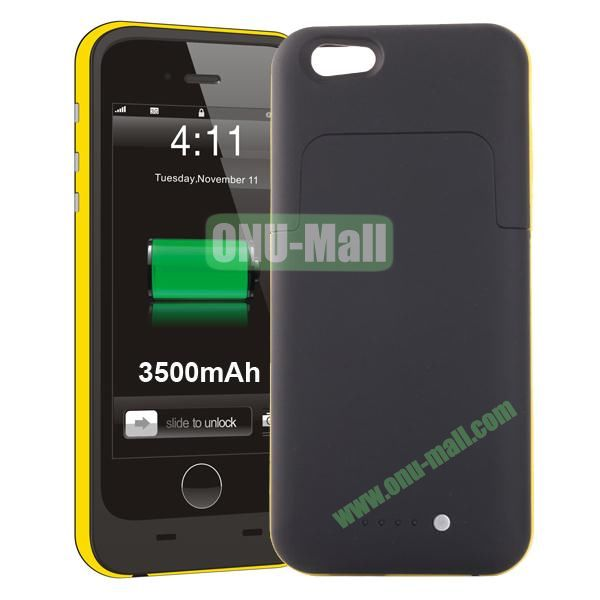 3500mAh Mophie Style External Power Bank Charger Pack Backup Battery Case for iPhone 6 4.7 (Without Mophie logo) (Yellow)