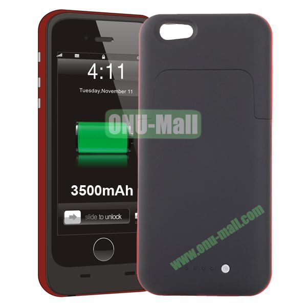 3500mAh Mophie Style External Power Bank Charger Pack Backup Battery Case for iPhone 6 4.7 (Without Mophie logo) (Red)