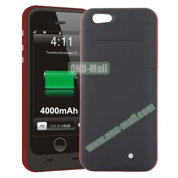 4000mAh Mophie Style External Power Bank Charger Pack Backup Battery Case for iPhone 6 Plus (Without Mophie logo) (Red)